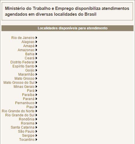 Agendamento do Seguro Desemprego - página do Ministério do Trabalho