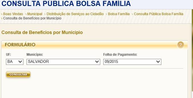 Consulta pública por município