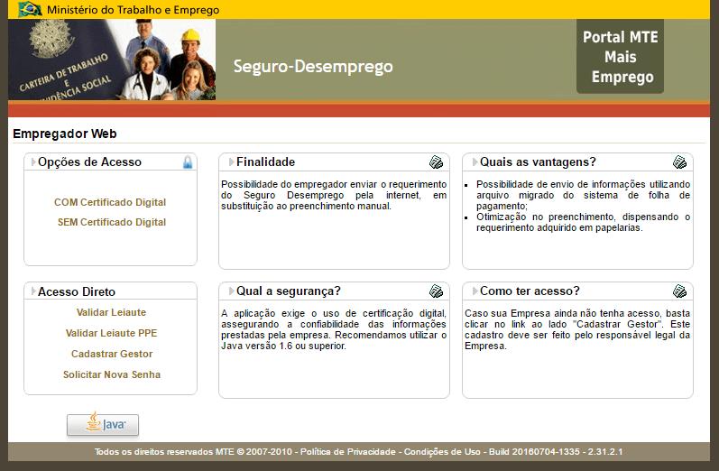 Empregador Web do Ministério do Trabalho