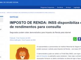 Extrato INSS par Imposto de Renda 2021