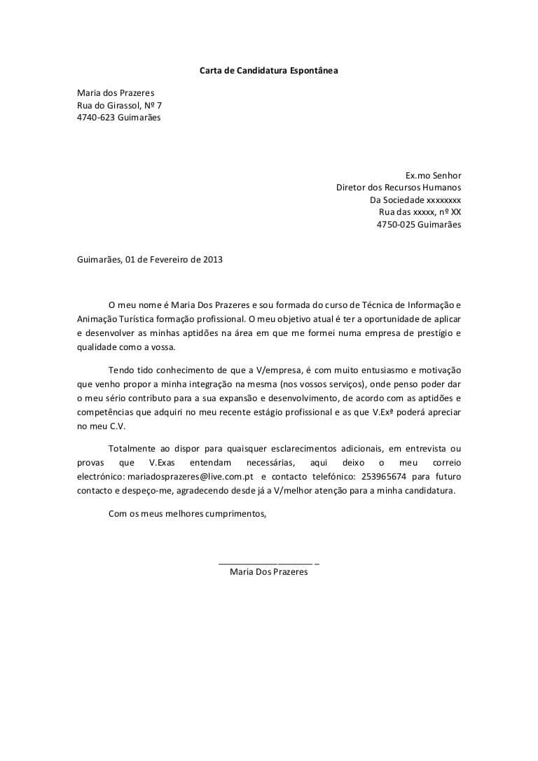 Carta de apresentação profissional por email