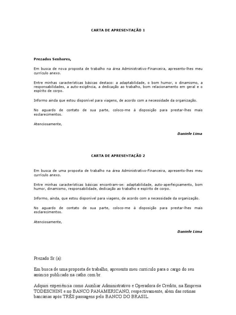 Carta curta de apresentação Profissional