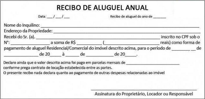 Modelos de recibo de aluguel anual
