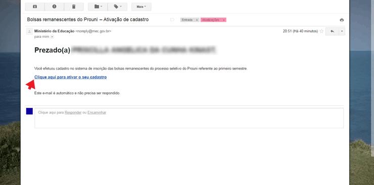 Email de confirmação do Prouni 2022