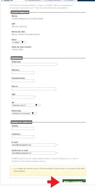 Dados Socioeconômicos na inscrição do Programa